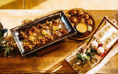 Scallops with Mango Salsa, Scallop & Shrimp Ceviche, Dessert Tower